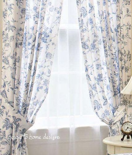 Brighton Blue White Toile Window Curtain French Panel Drape | eBay