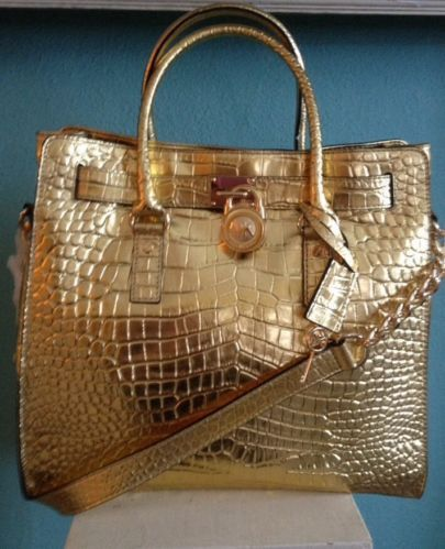 75ecb5fa5 NWT MICHAEL KORS LARGE GOLD HAMILTON CROCODILE EMBOSSED LEATHER TOTE BAG |  Stuff to have | Bags, Michael kors, Tote bag