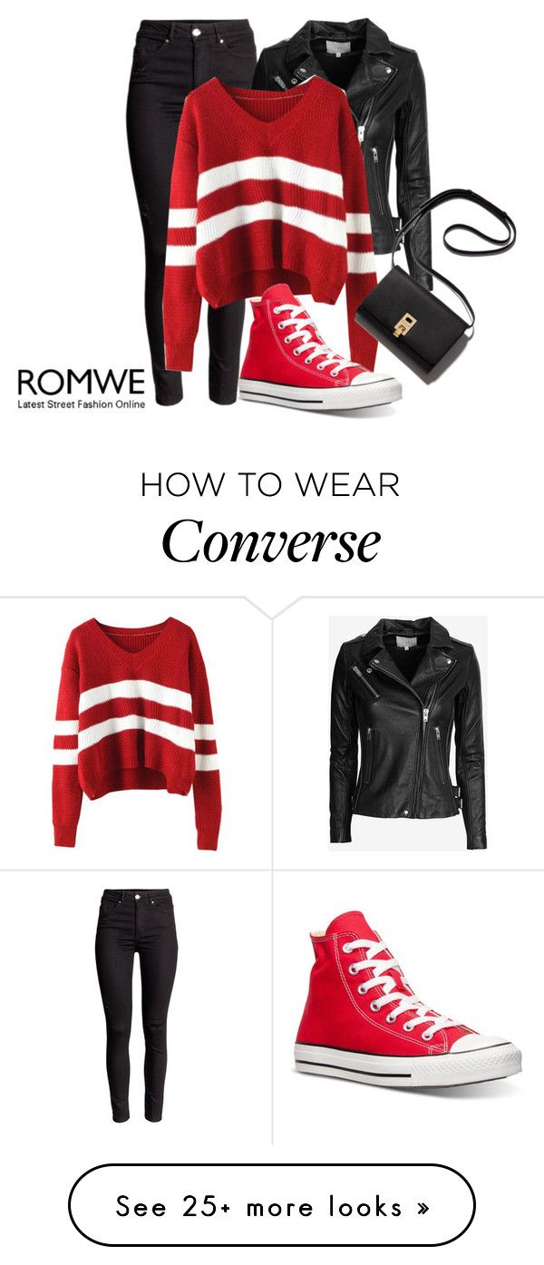"""Romwe : Wine Red Sweater"" by snjezanamilovanovic233 on Polyvore featuring IRO, Converse, women's clothing, women's fashion, women, female, woman, misses and juniors"