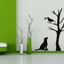 Dog and Crow Wall Decal  Ideal for kid's room or junior classes, the Dog and Crow Wall Decal is one to use if you desire a 'story theme decor.'  The animal wall sticker is easy to install on any smooth surface without any professional help and is surely pocket friendly. The kids are bound to love it in their room!  LARGE :- 24 X 48 - IN INCHES