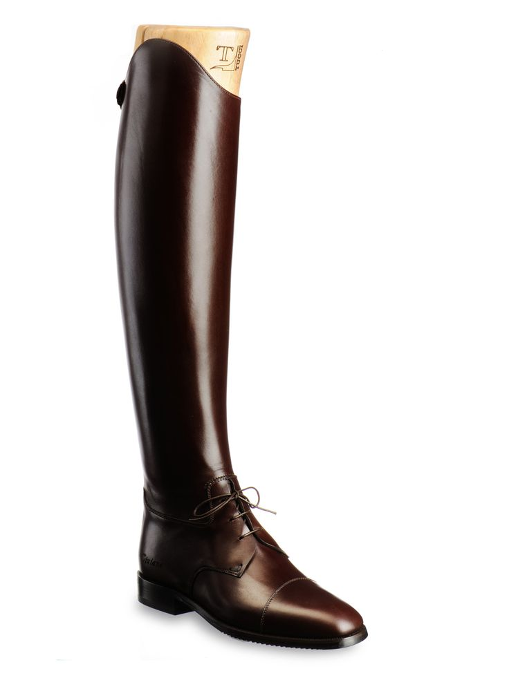 Tucci Dressage Collection Tall boot in dark brown leather with rigid leg,  back zipper and traditional laces. Designed for everyday training.