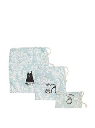 Chateau Blanc Set of 3 Sonoma Printed Bags, Aqua/White