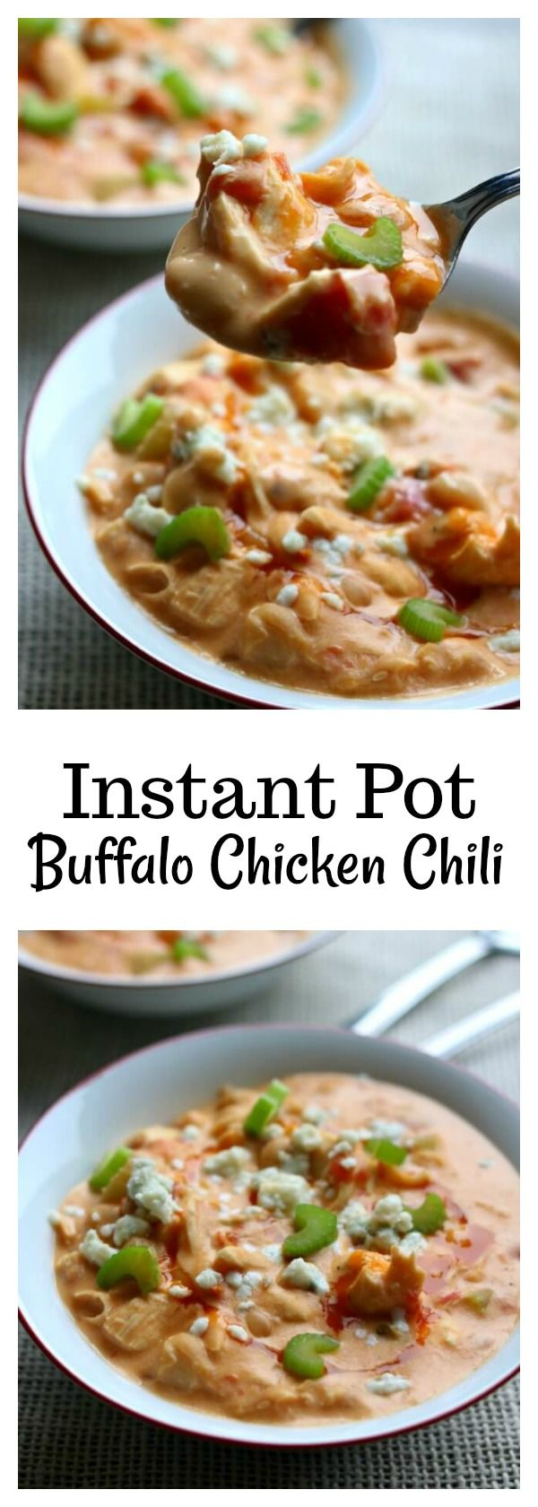 Instant Pot Buffalo Chicken Chili–a creamy white bean chicken chili that is flavored with buffalo sauce and fire roasted tomatoes. It's basically the soup version of buffalo chicken dip.