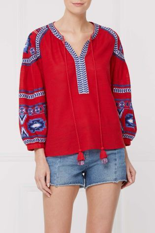 Buy Red Embroidered Long Sleeve Top from the Next UK online shop