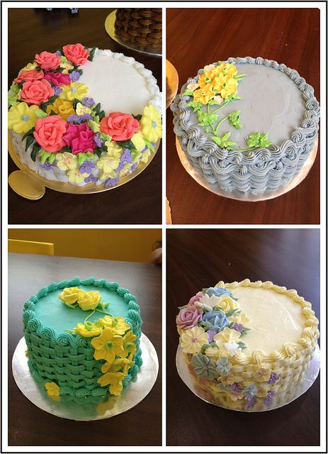 basketweave flower cakes | Wilton Method of Cake Decorating Course 2 basketweave flower cake ...