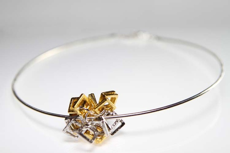 Silver Neck Wire with Pewter and Gold Square Pendant