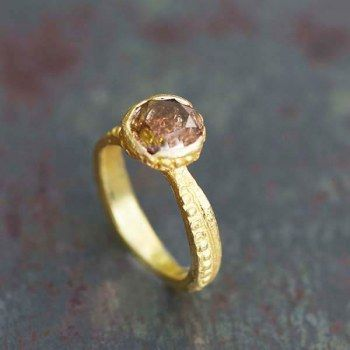 antique style gold ring and champagne diamond Esther Assouline, exclusively in Jewelry Designers Workshop.