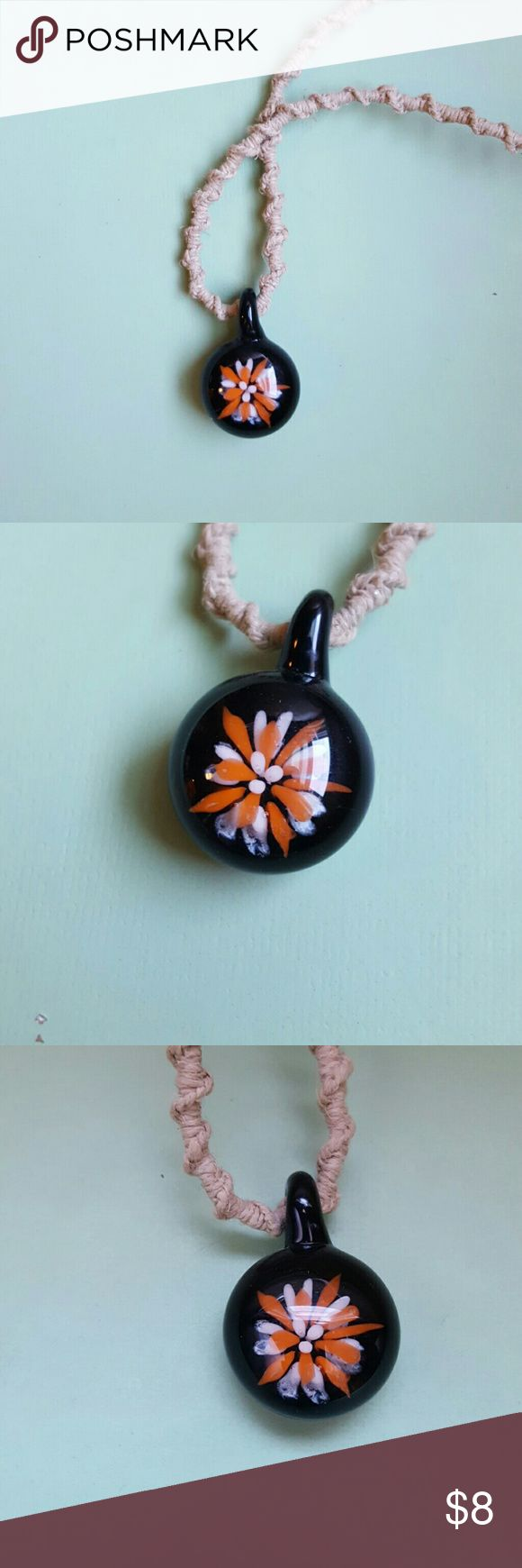 49 best glass pendants images on pinterest eye glasses blown glass and hemp necklace simple hemp cord with a black orange and white blown mozeypictures