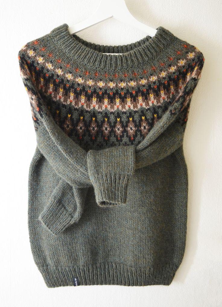 Pull tricoté main laine alpaga jacquard style islandais lopapeysa aux couleurs d'automne : Pulls, gilets par de-temps-en-temps