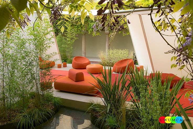 Outdoor / Gardening:Outdoor Design Trends 2014 Summer Furniture Decor Hot Tub Design Outdoor Sofa Chairs Cushions Table Ideas Backyard Lighting Landscape Goregous Outdoor Seating In Bright Orange Is Ideal For The Summer Evenings Newest Hot Outdoor Design Trends For Summer 2014