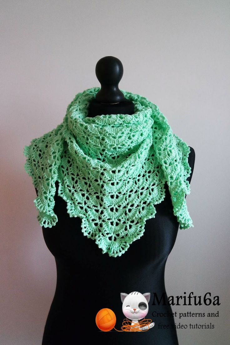 Free Crochet Patterns And Video Tutorials: How To Crochet Spring Triangle  Baktus Wrap Shawl Free