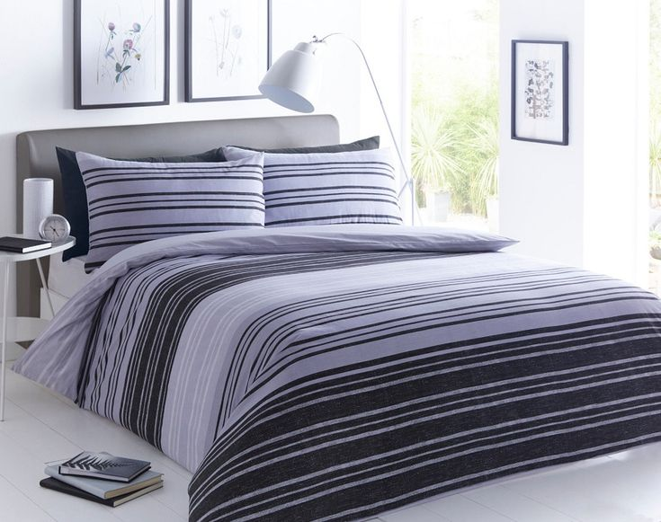 Texture Stripe Grey Duvet Quilt Cover Bedding Set – Linen and Bedding