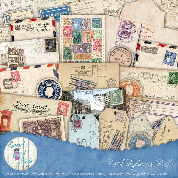 Vintage Postal Ephemera Collage Sheet Journal Ephemera Etsy Collage Sheet Book Art Ephemera