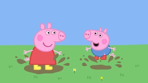 Peppa Pig and George love jumping in muddy puddles!