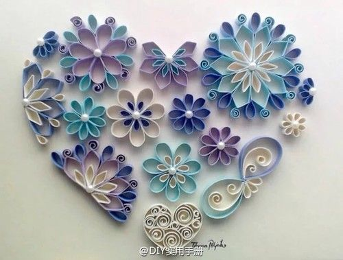 inspiration only - upcycling - toilet paper roll - amazing wall art - beautiful blue, purple and white flowers - heart