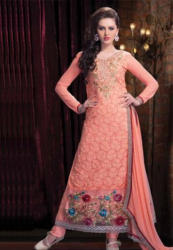 Long Straight pajami suit in peach colour.