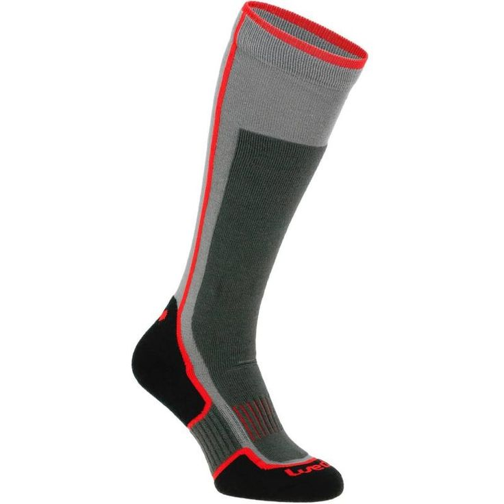 SKI SOCKS 300, HF, GRIS ROUGE - Decathlon