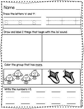 Kindergarten Morning Work for September....Great for Morning Routines!