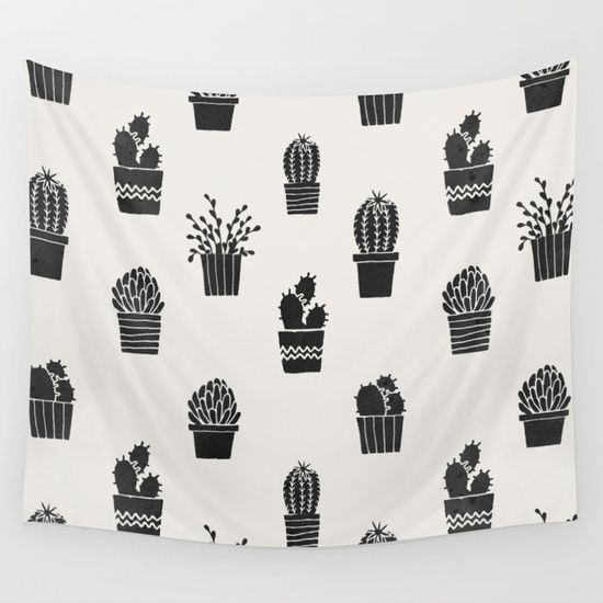 Southwestern Stamped Potted Cactus + Succulents Wall Tapestry. #graphic-design #illustration #digital #nature #painting #abstract #pattern #vintage #vector #drawing #watercolor #pop-art #black-and-white #southwest #southwestern #tropical #desert #gray #cactus #cactuses #cactusses