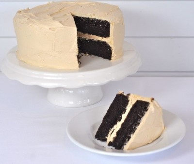 It says Cappuccino Cake, but the cappuccino is in the frosting, but let's face it, chocolate and cappuccino will always be a wonderful pairing!