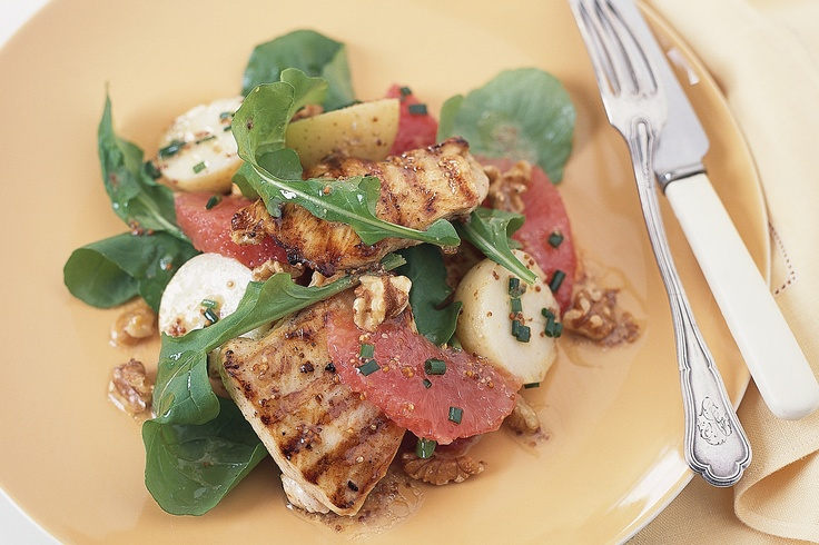This is a gourmet salad with lots of different taste and texture elements - slightly sour grapefruit, crunchy nuts, tangy mustard, char-grilled chicken and soft potatoes.