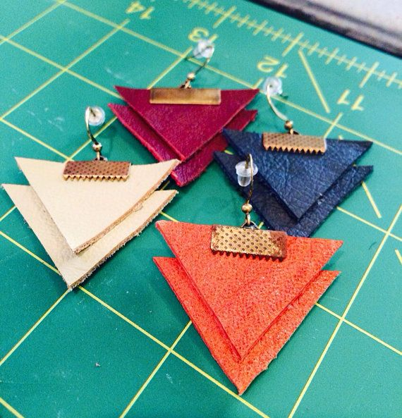 Triangle Leather Earrings on Etsy, $10.00