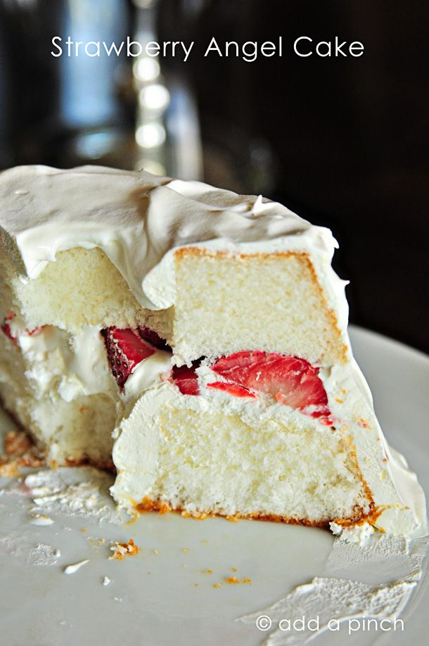 Simple, easy, no-bake Strawberry Angel Cake from addapinch.com. Perfect for summer!