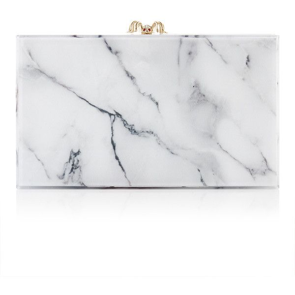 Charlotte Olympia White Marble Perspex Pandora Clutch found on Polyvore featuring bags, handbags, clutches, lucite handbag, white handbags, lucite purse, white purse and charlotte olympia purse