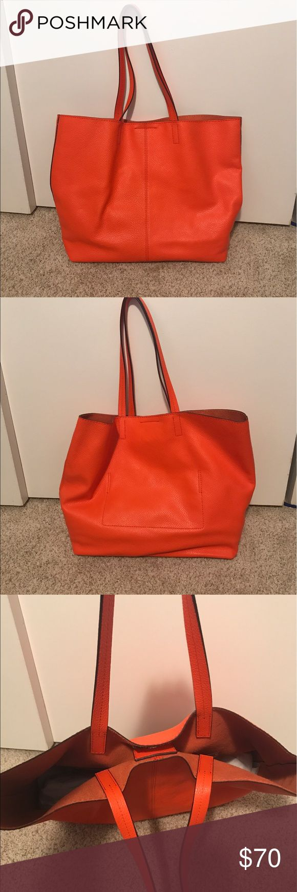 NWOT Banana Republic leather tote NWOT Banana Republic leather tote.  Soft, unstructured leather.  One interior pocket.  Magnetic closure.  Bright orange. Banana Republic Bags Totes
