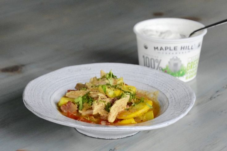 Chicken vegetable curry made with 100% Grass-fed organic yogurt. Delicious, healthy, and a perfect dish to re-purpose left over meat.