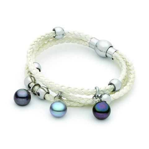 Grey & Black 10-10.5mm Freshwater Pearl 3 row White leather brac stainless steel