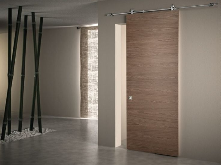 Walnut sliding door without frame LINEAR Scorrevoli special Collection by PIVATO
