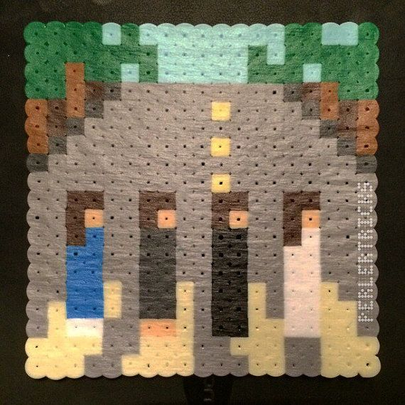 Perler Beads Abbey Road Magnet  -- The Beatles album cover rock and roll classic hama perlers beadsprite