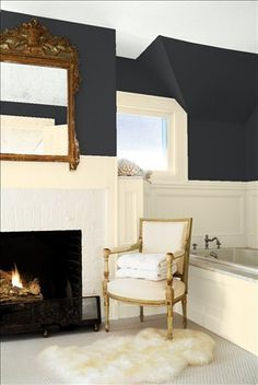 Look at the paint color combination I created with Benjamin Moore. Via @benjamin_moore. Wall: Ebony King 2132-20; Paneling: Ylang Ylang AF-305; Ceiling: Frostine AF-5.