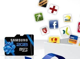 Facebook Samsung Aktion: 2GB Micro-SD Karte mit 46 Android-Apps gratis