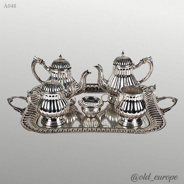 Старинный серебряный кофейный набор украшение для любого стола!  Размер подноса 55×35 см.  Отборный антиквариат из Европы!  #стол #поднос #серебро #серебрянаяпосуда #подарок #подарокжене #подарокбоссу #подарокнасвадьбу #красота #интерьер #длядома #винтаж
