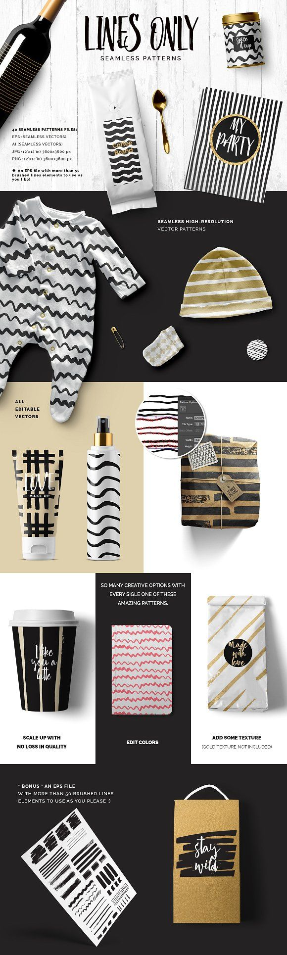 Handdrawn Lines Patterns by Youandigraphics on @creativemarket