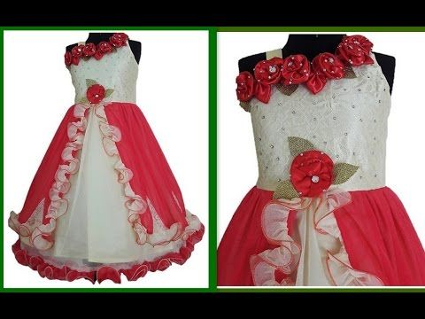 11ed14ac0 How to make Floor length gown One shoulder with ruffle strips & Handmade  Flower making DIY - YouTube