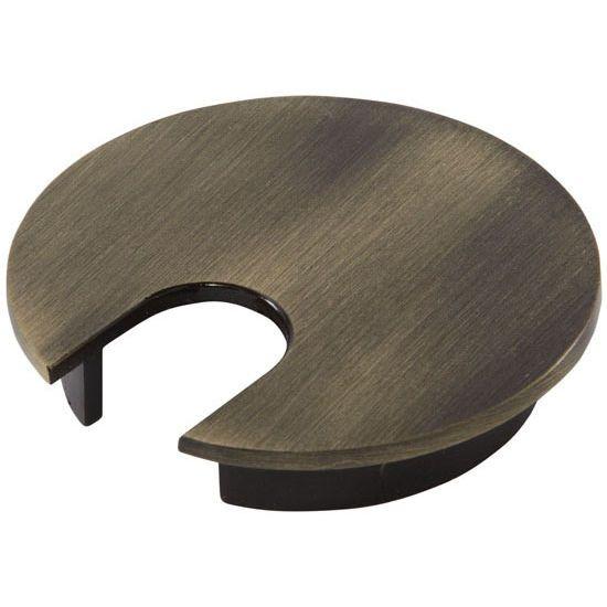"Hafele Metal Round Cable Grommet, Zinc, Antique Copper, 2-1/2"" Hole, 13/16"" x 1-1/8"" Opening"