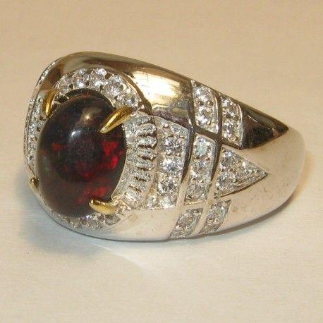 Cincin Pria Black Opal Ring 9US Bahan Silver 925