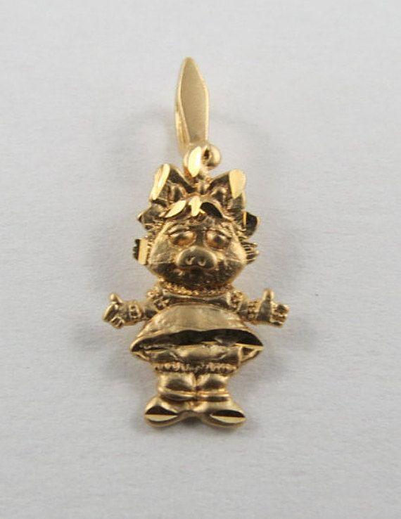 Little Miss Piggy 10K Gold Vintage Charm For by SilverHillz