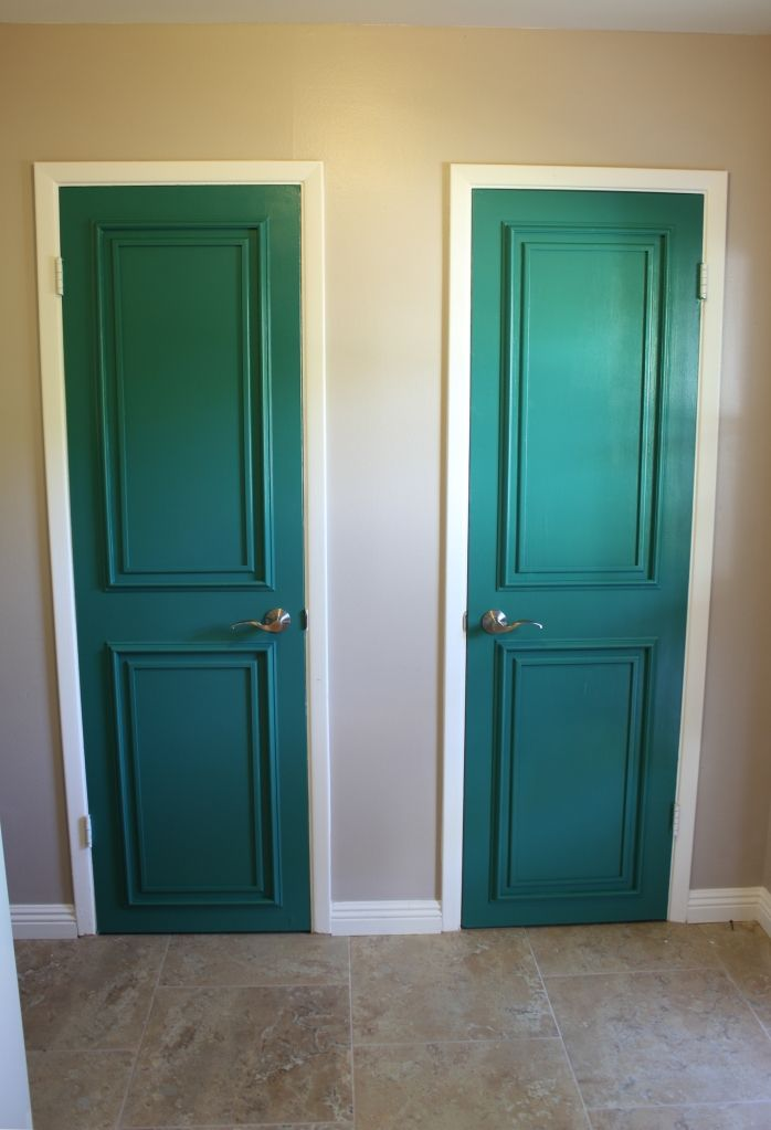 Diy door molding upgrade i love the color too think i for Baseboards doors and more