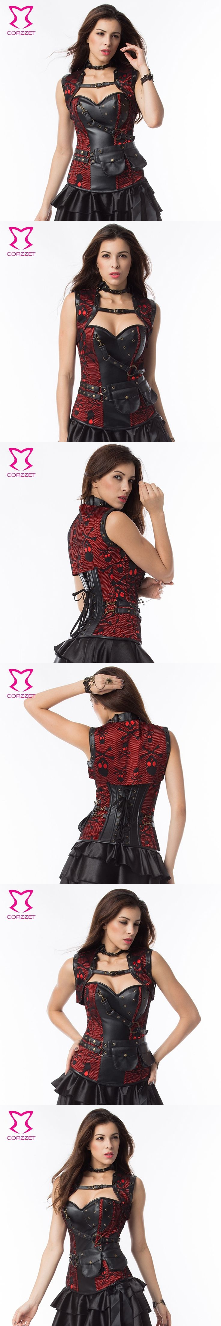 Red/Black Skull Pattern Steel Boned Corset Plus Size Waist slimming Corsets Gothic Espartilhos E Corpetes Steampunk Clothing