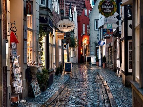 Shops in  Schnoor, Bremen. Germany