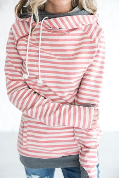 Double Hooded Sweatshirt - Pink Stripe
