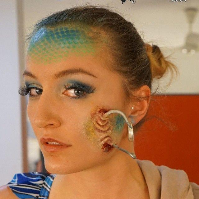 Salacias Fishing Hook Wound ~ Makeup for the Ocean Dreams production. Makeup by makeupartistrycairns.com.au  #stagemakeup  #makeup #Makeupart #specialfx  #specialfxmakeup #Makeupartist #makeupartistrycairns #makeupartistry #Cairns #MUA