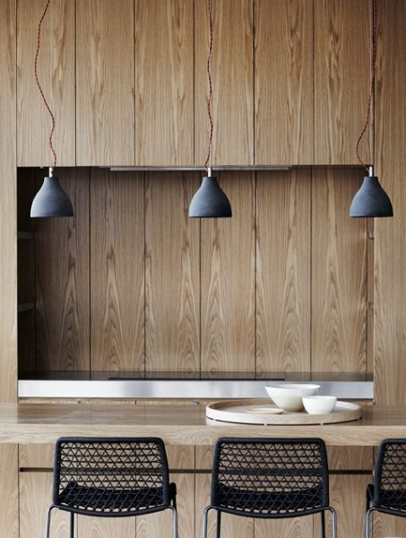 Timber panelling, black mesh barstools and pendants.