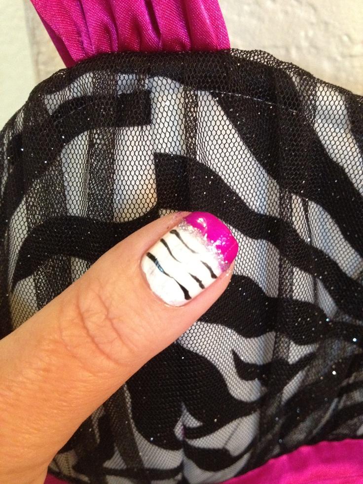 hot fushia zebra striped french manicure nail art. Black Bedroom Furniture Sets. Home Design Ideas