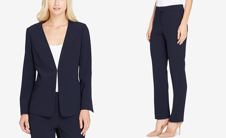 Tahari ASL Collarless Pantsuit - Suits & Suit Separates - Women - Macy's