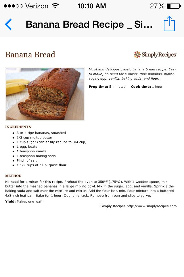 Banana bread....was able to make two small loafs and 1/2 the sugar. Perfect for my little ones breakfast